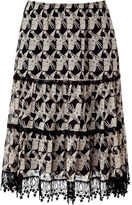Anna Sui Black and Cream Star Print Skirt