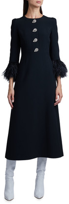 Andrew Gn Feather-Sleeve Midi Dress