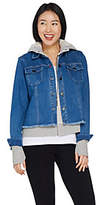 Peace Love World Novelty Denim Jacket w/ FrenchTerry Hoodie
