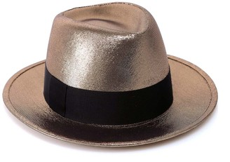 Saint Laurent Metallic Wide Brim Trilby Hat