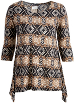 Glam Black & Taupe Geometric Sidetail Top - Plus