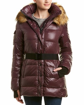 S13 Women's Karlie Mid Length Belted Down Coat with Faux Fur
