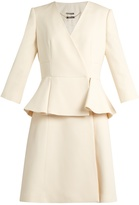 Alexander McQueen Peplum-waist wool and silk-blend dress