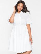 ELOQUII Plus Size Ruffle Sleeve Shirt Dress