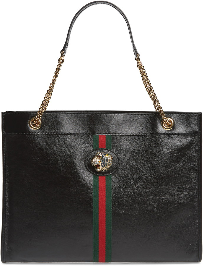 ac2208b4fe19 Black Leather Tote Gucci - ShopStyle