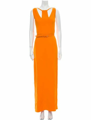 Oscar de la Renta V-Neck Long Dress Orange
