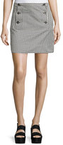 See by Chloe Button-Front Mini-Check Skirt, Black/White