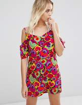 Warehouse Pansy Pop Cold Shoulder Dress
