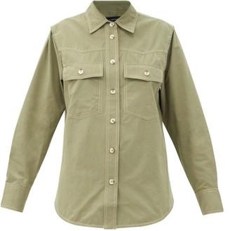Lee Mathews Birder Topstitched Cotton Shirt - Khaki