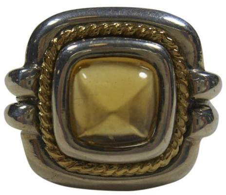 Tiffany & Co. & Co.18K 750 Yellow Gold & Sterling Silver Citrine Ring Size 6