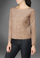 AG Jeans The Crossback Top with Exposed Zipper - Café