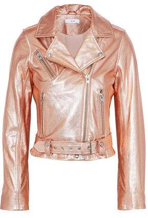 7668b153c Brooklyn Metallic Leather Biker Jacket