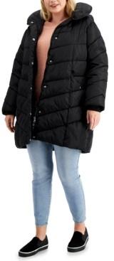 Madden-Girl Trendy Plus Size Fleece-Lined Hooded Puffer Coat