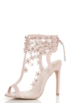 Quiz Pink Mesh Flower Embroidered Peeptoe Shoe Boots