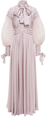 Zimmermann Pussy-bow Flocked Tulle-paneled Gathered Silk-satin Maxi Dress