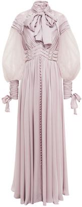 Zimmermann Pussy-bow Flocked Tulle-paneled Washed-silk Maxi Dress