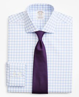 Brooks Brothers Stretch Soho Extra-Slim-Fit Dress Shirt, Non-Iron Twill English Collar Grid Check