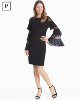 White House Black Market Petite Ruffle Lace Black Shift Dress