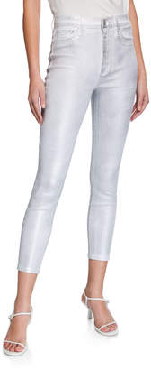 Alice + Olivia Jeans Good High-Rise Foil Skinny Jeans
