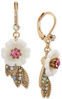 Betsey Johnson Gold-Tone Crystal Flower Drop Earrings