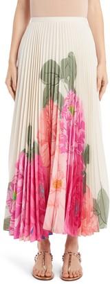 Valentino Camellia Pleated Silk Crepe de Chine Maxi Skirt