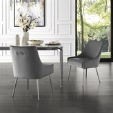 Everly Bostwick Upholstered Dining Chair Quinn Upholstery Color: Light Gray, Leg Color: Chrome
