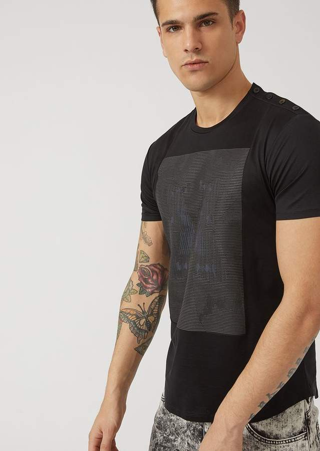 Emporio Armani T-Shirt In Glossy Jersey With Optical Effect Butterfly Print