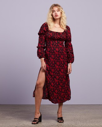 Missguided Women's Black Midi Dresses - Square Neck Floral LS Midi Dress - Size 6 at The Iconic