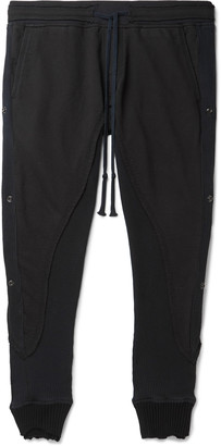 Greg Lauren 50/50 Slim-Fit Rivet-Detailed Waffle-Knit And Cotton-Blend Jersey Sweatpants