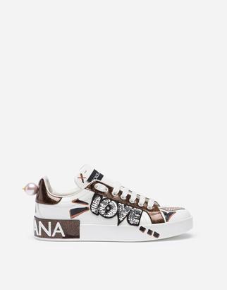 Dolce & Gabbana Portofino Sneakers In Nappa Calfskin With Love Patch