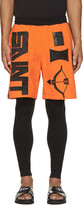 Kokon To Zai Orange & Black Terrycloth Arrow Shorts