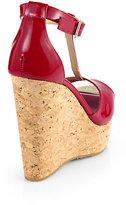 Jimmy Choo Pela Patent Leather T-Strap Cork Wedge Sandals
