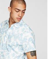 Express slim island floral cotton short sleeve shirt