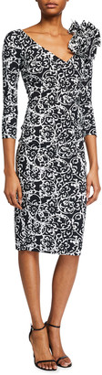 Chiara Boni V-Neck Printed 3/4-Sleeve Dress w/ Shoulder Detail