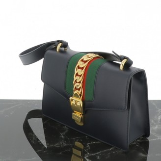 Gucci Sylvie Navy Leather Handbags