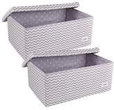 Minene Storage Box Set with Lid (Large, Grey/Chevron)