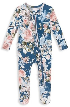 Posh Peanut Baby Girl's Floral Footie Ruffled Double Zippered Coverall