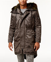 GUESS Men's Alpine Satin Fishtail Parka with Faux-Fur Hood