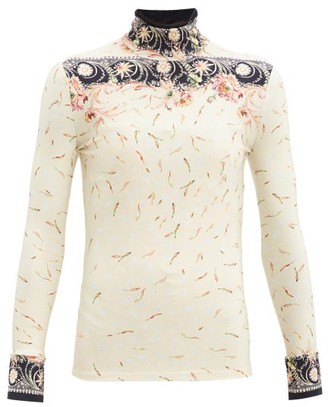 Paco Rabanne High-neck Floral-print Jersey Top - Navy Multi