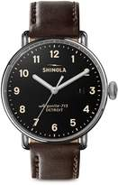 Shinola The Canfield Stainless Steel Leather-Strap Watch