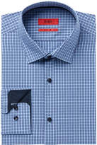 HUGO BOSS HUGO Men's Slim-Fit Light Blue Mini Plaid Dress Shirt