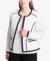 Calvin Klein Plus Size Contrast-Trim Jacket