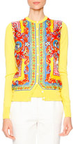 Dolce & Gabbana Carretto-Print Button-Front Cardigan, Red/Yellow/Blue