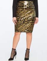 ELOQUII Leopard Sequin Column Skirt