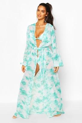 boohoo Tie Dye Maxi Beach Kimono