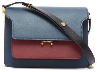 Marni Trunk Medium Saffiano-leather Shoulder Bag - Womens - Blue Multi