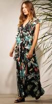 Adelyn Rae Pintuck Ruffled Printed Maxi Dress