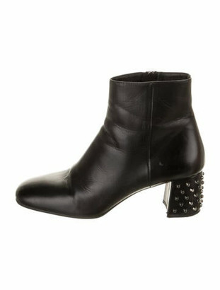 Prada Leather Studded Accents Boots Black