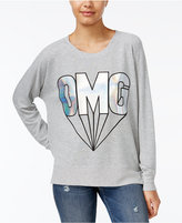 Rampage Juniors' OMG Metallic Oversized Graphic Sweatshirt