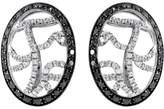 Versace 18K White Gold Black & White Diamond Huggie Earrings